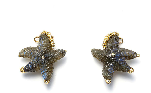 Hand Carved Labradorite Starfish with Diamonds in 18kt Gold