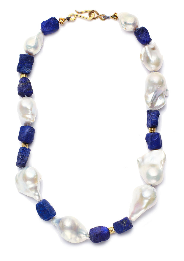 Lapis Lazuli Beads and Baroque Pearl Necklace