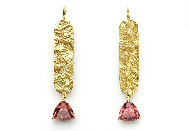 Malaya Zircons on Seascape 18kt Gold Drop Earrings