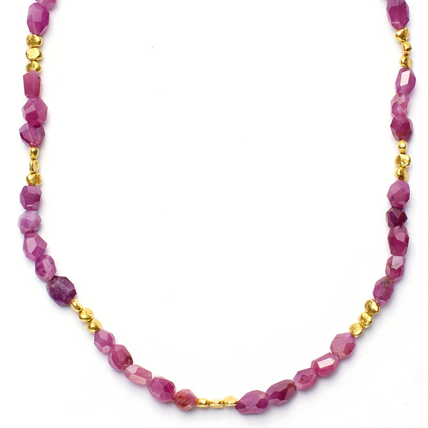 Ruby Necklaces with 20kt Gold Beads