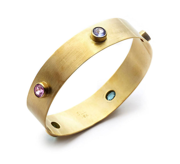 Multi Gemstone and 18kt Gold Bangle - Large