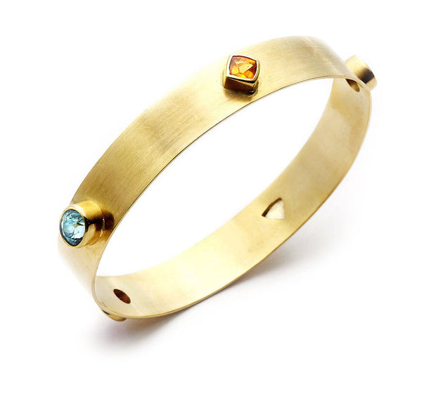 Multi Gemstone and 18kt Yellow Gold Bangle -  Medium
