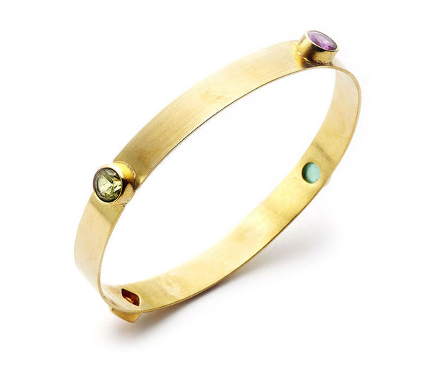 Multi Gemstone and 18kt Yellow Gold Bangle- Narrow