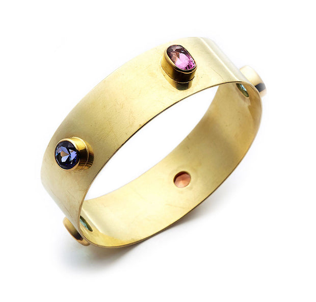 Multi Gemstone and 18kt Gold Medium Bangle