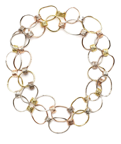 Multi Link Hand Hammered Necklace in 18kt Yellow Gold, 14kt Pink Gold and Sterling Silver