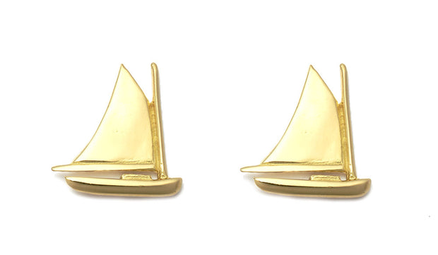 Nantucket Cat Boat Earrings in 18kt Gold