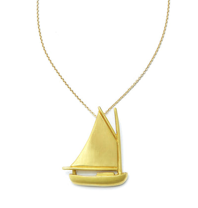 Nantucket Cat Boat Pendant in 18kt Yellow Gold - Large