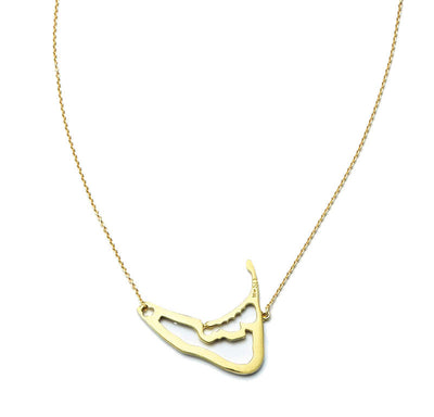 Nantucket Map Necklace in 18kt Yellow Gold