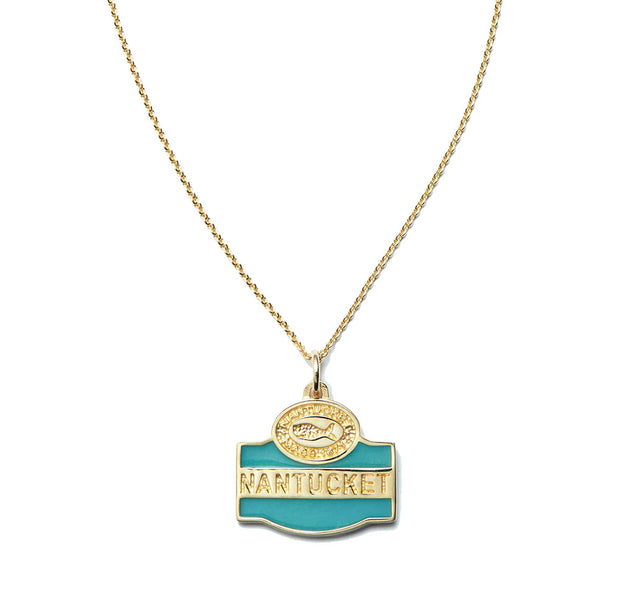 Nantucket Sign Charm in 14kt Gold