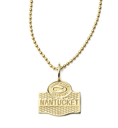 Nantucket Sign Collection Basket Weave Pendant in 18kt Yellow Gold