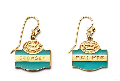 Nantucket Sign Collection Earrings in 14kt Yellow Gold