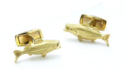 Nantucket Striped Bass Cufflinks in 18kt Gold