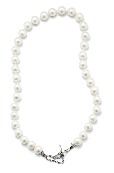Nantucket in Diamonds Map and Clasp with Freshwater Pearls