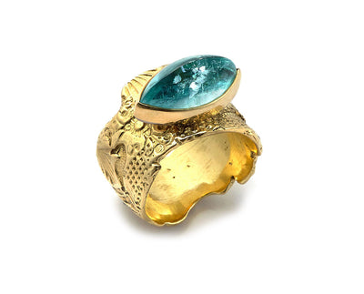 Navette Cut Paraiba Tourmaline set in 18kt Yellow Gold Georgette Band