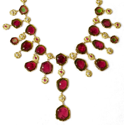 """Seaquin"" Bib Necklace of Watermelon Tourmaline with Pink Sapphires and Diamonds set in 18kt Gold"
