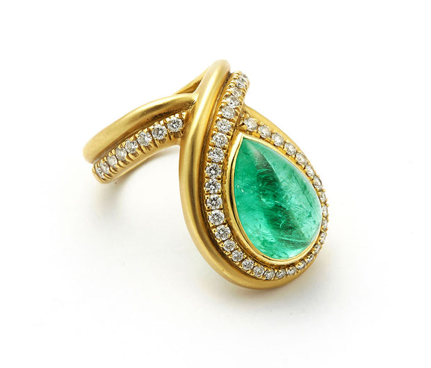 Paraiba Tourmaline Teardrop Cabochon Cut and Diamonds set in 18kt Gold