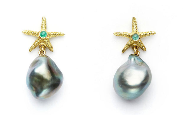 Paraiba Tourmaline and 18kt Gold Starfish with Tahitian Pearl Drops