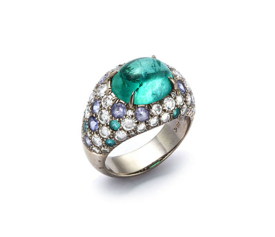 Paraiba Tourmaline Set with Diamonds, Sapphires and Paraiba Tourmalines in 18kt White Gold