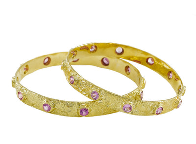 Textured Seascape Bangle with Pink Sapphires set in 18kt Yellow Gold
