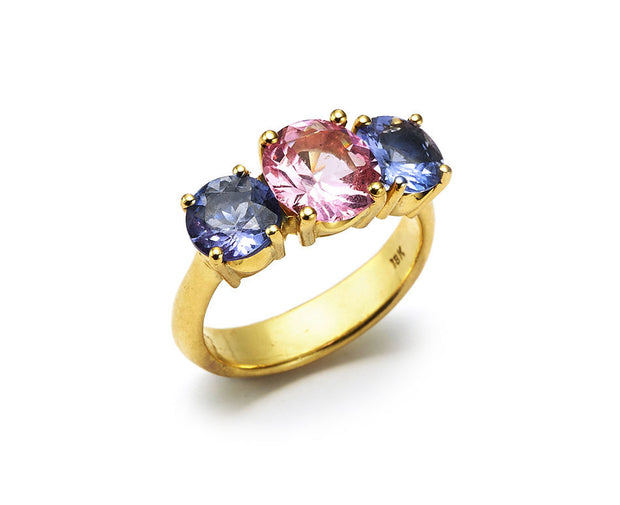 Pink Spinel with Tanzanite set in 18kt Gold