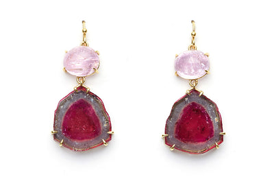 Pink Topaz and Watermelon Tourmaline Earrings