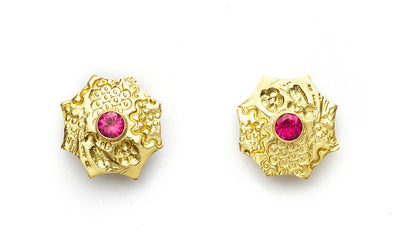 Pink Tourmaline Flower Earrings in 18kt Gold