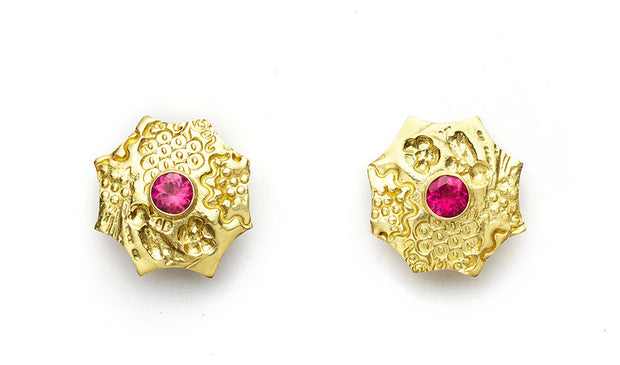 Pink Tourmaline Flower Earrings - 18kt Gold