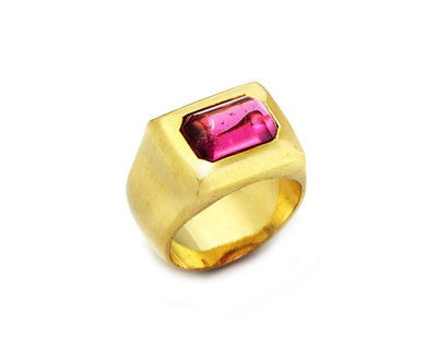 Pink Tourmaline Set in 18k Gold Greek Signet Ring