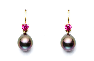 Rubies with Black Tahitian Pearl Drops