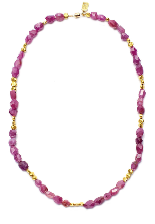 Rubys and Gold Beaded Necklace - Long Strand