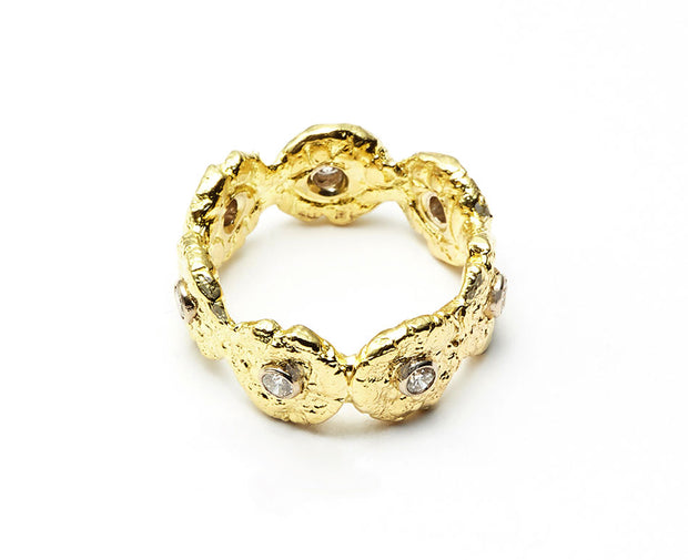"The ""Seaquin"" Band with Diamonds set in 18kt Gold"