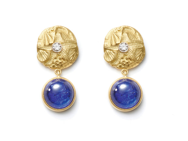 18kt Gold and Tanzanite Star and Sea Earrings