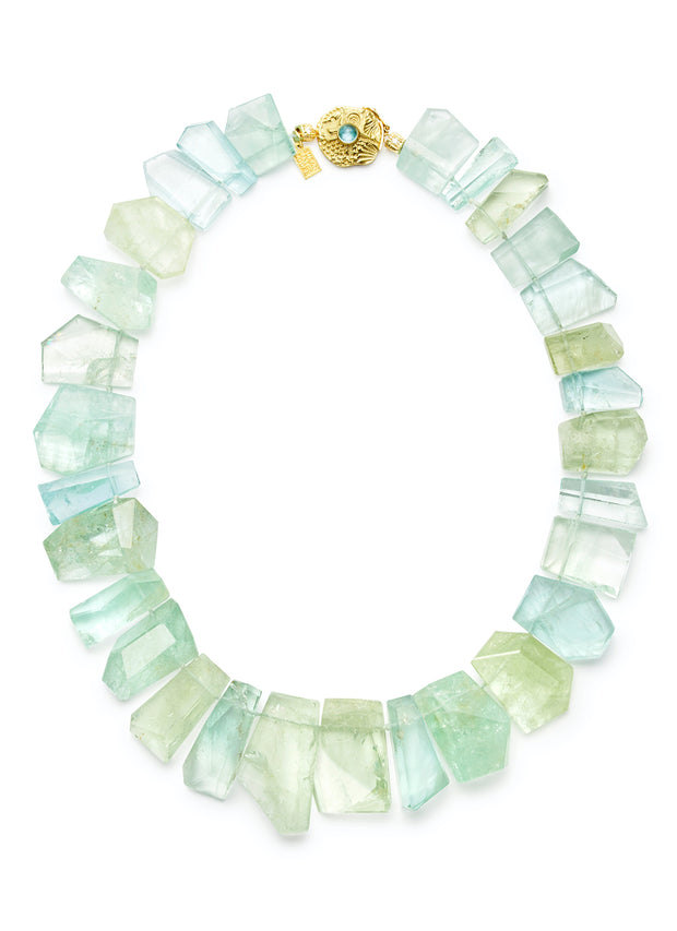 Aquamarine and Green Beryl Plate Necklace with 18kt Gold Star & Sea Clasp with 6mm Cabochon Paraiba Tourmaline