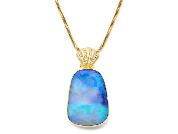 Blue Waters Boulder Opal Pendant with 18kt Gold and Diamond Scallop Shell Bale