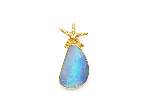 Boulder Opal with Diamond Starfish Pendant