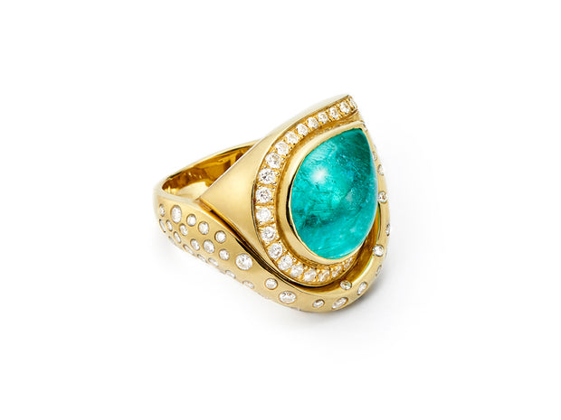 Breathtaking Paraiba Tourmaline and Diamond Swirl Ring in 18kt Gold