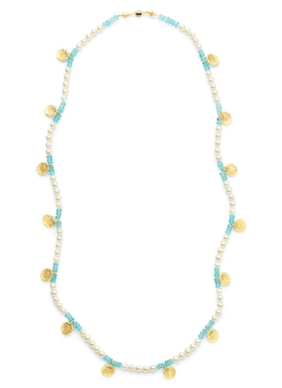26-inch Freshwater Pearl and Apatite Bead Necklace with 18kt Gold Scallop Shells and Magnetic Clasp