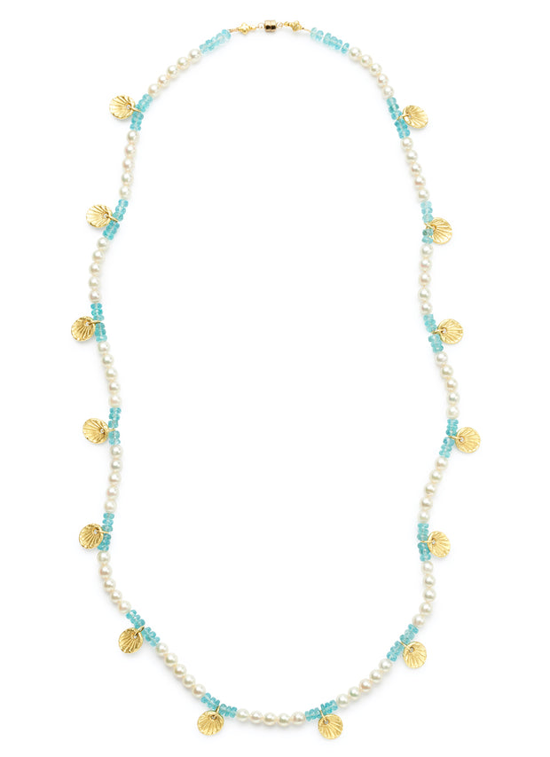 Freshwater Pearl and Apatite Bead Necklace with 18kt Gold Scallop Shells and Magnetic Clasp