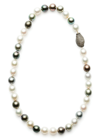 19-inch Multi-Colored Tahitian and South Sea Pearls with Pave Diamond Clasp