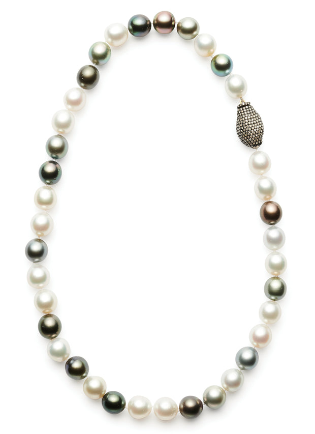Multi-Colored Tahitian and South Sea Pearls with Pave Diamond Clasp