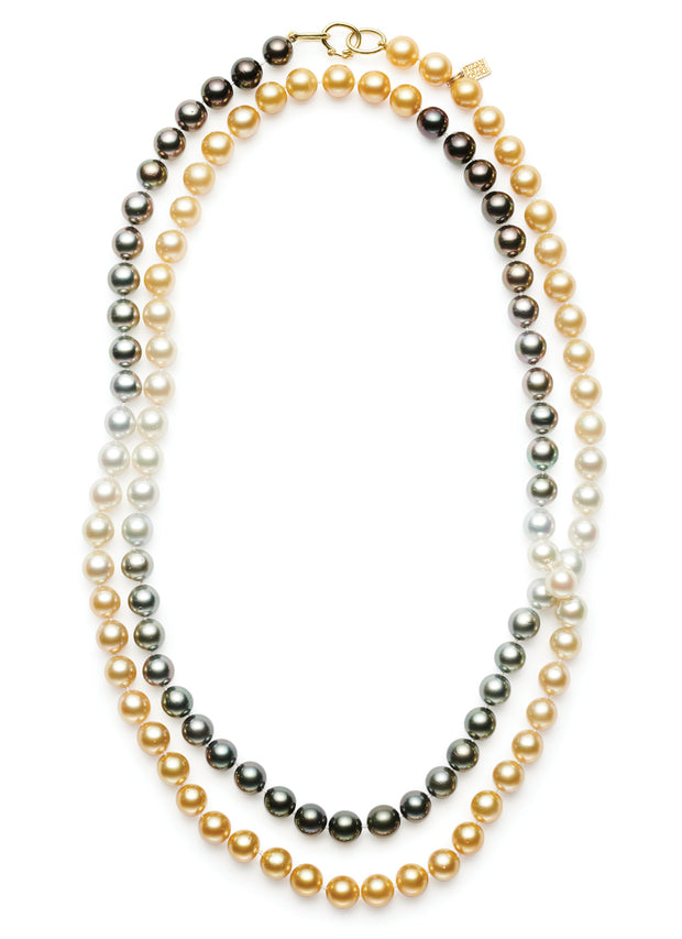 48-inch Multi-Colored Ombre Pearls with 18kt Gold 3-ring clasp