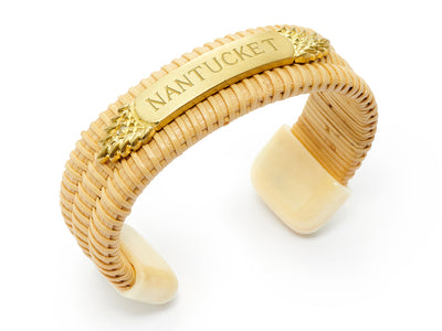 Nantucket Basket Quarterboard Bracelet™ with Ivory Endcaps