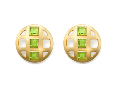 Peridot Lattice Earrings in 18kt Gold