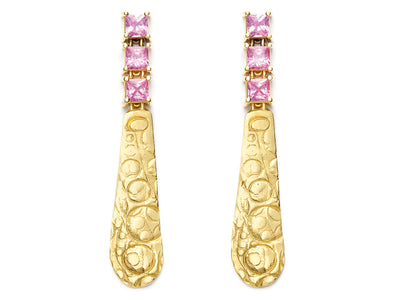 18kt Gold Textured Drops with Pink Sapphires
