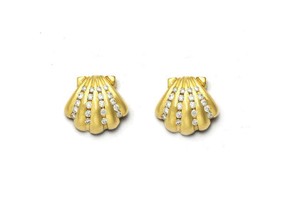 Diamond Scallop Shell Earrings in 18kt Gold