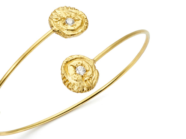 """Sea Star"" and Diamond Bypass Bracelet in 18kt Gold"