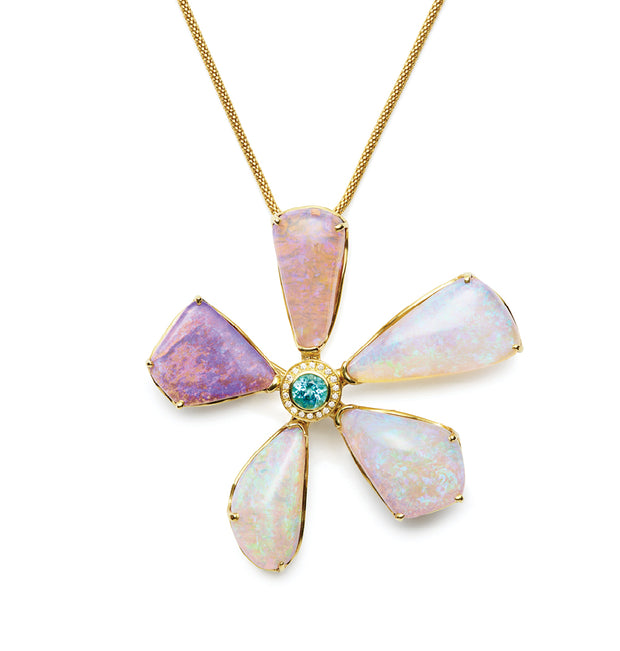 Opal, Paraiba, and Diamond Pin/Pendant