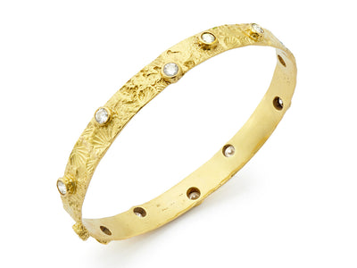 Textured Seascape Bangle with Diamonds set in 18kt Gold