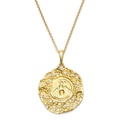 The Busy Bee Pendant in 18kt Yellow Gold with Diamond Brilliants