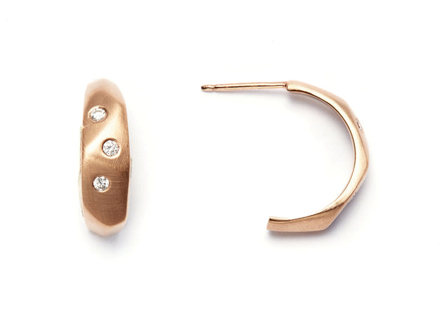 The Diana Earrings with Diamonds - 14kt Rose Gold